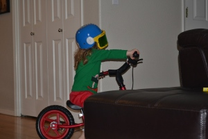 "Whilst I whizzed around on my bike with my new ""indoor"" helmet."