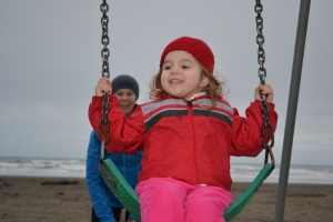 and it didn't stop us from utilising the beach swing set.