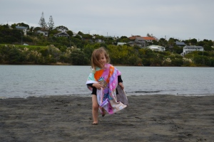 After some food, a run around the play ground and beach (including dipping our toes in the water)