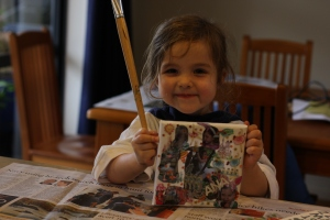 Then we put on photos, ballerina stickers, glitter and stars to make a picture.
