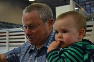 Rafa showed Grandpa John  around at the gym.  He took him to watch me do BIG jumps into the foam pit.