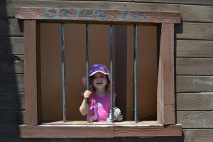 We stopped for lunch in Sisters, a town which is made to look like it's straight out of a cowboy movie.  Lucy and I got in a spot of trouble and ended up in the town jail!