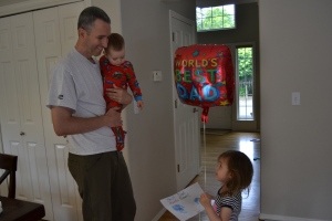 Papi said I still haven't worked out this keeping a secret thing but he liked his card and balloon!