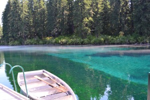 Clear Lake is about half an hour from our cabin.  We hired a row boat there this morning.