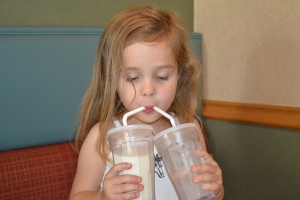 But my new invention of how to drink milk and iced water got a laugh.