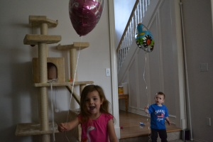 Fortunately the thank you balloons they left for us were easier to catch.