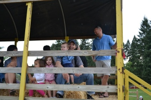 When it started to rain we took cover in the hay ride.