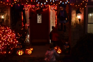 It was dark by the time we finished our adventure.  Then it was home to hand candy out to other trick or treaters!