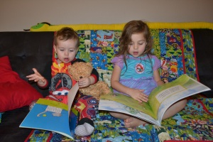 Reading our own bedtime stories.