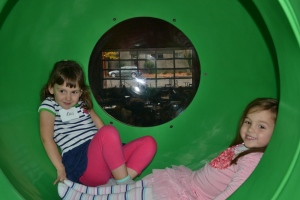We were at Playdate PDX which is awesome.  Here Eva and I are in the dragon's mouth up at the top of the castle.