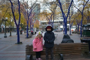 We were sure grateful to have our beanies on though.  No wonder the trees were all blue - it was freeeeeeeezing cold.