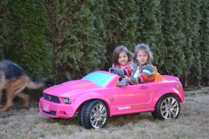Kennedy and I ripped around the back yard in her Barbie car.