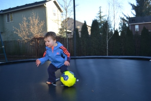 Rafa didn't want to get off the trampoline to come in for dinner.
