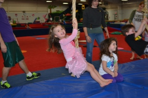 One of my new friends invited me to her birthday party at Westwood Gymnastics.