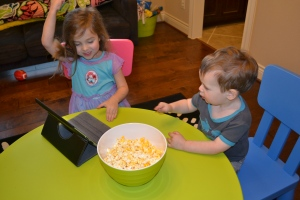 But I think giving us the iPad and a bowl of popcorn for a Friday night treat is just plain awesome.