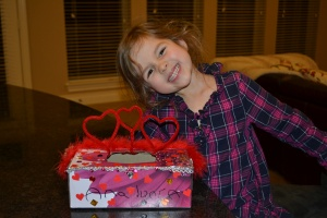 We glued on a few more bits and pieces and ta-da!  My Valentines mail box!