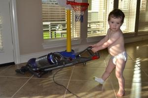 Whilst Rafa vacuumed.