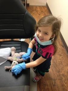 Her three teeth are healthy.  I gave her a few pointers on dental hygiene.