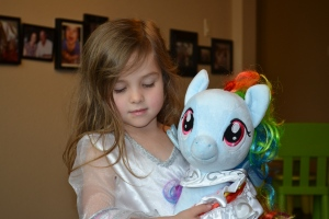 And she brought over her Rainbow Dash pony which I thought was really cool.