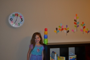 A clock and wall decals for our playroom.