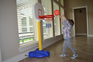 All of which had to be tried out and tested for basketball-ability at home.