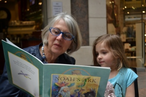 And happily reading books with Abuela in a Pitt St Cafe.