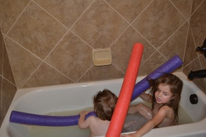 Okay, so you can't swim with pool noodles in the bath tub.
