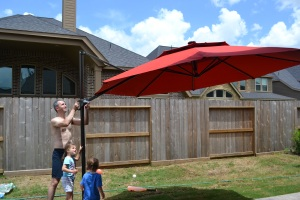 A BIIIIIG umbrella so we can share meals outside without getting sunburnt.