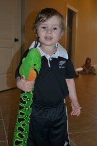 I my All Blacks gear with my snake for show and tell.