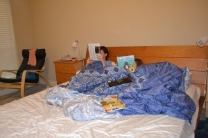 Mum and I were relaxing and doing a spot of reading before bed.