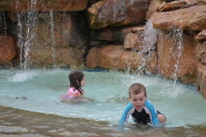 After nap we headed to the pool.  Play under the rocks and waterfall.