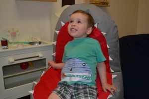 He also got to test run the new shark chair (now that shark has a nice set of teeth!)