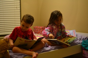 Finally, after swimming, dinner, shower, PJs and scrubbing out teeth we finally got to read them.  We read all four at once!