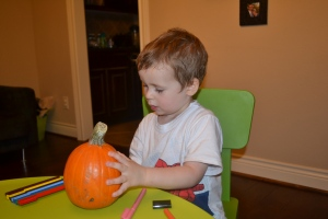 "And Rafa made his a ""BIG pumpkin"""