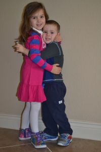 And an excuse for a nice morning hug (Mum's edit: and cute photo).