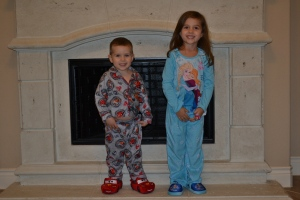 Our new winter PJs and slippers are getting a test run tonight.