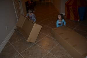 Mum thought these boxes would make great cars but we had a better idea…. we had new space ships!