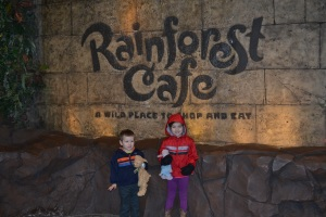 Because I'm turning 5 today I got to choose today's activities.  First stop, Rainforest Cafe.