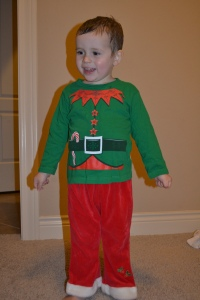 Mum wanted to check if the Christmas Elf suit fitted me.