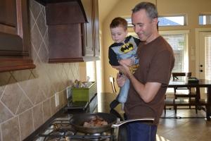 Admiring Papi's culinary skills