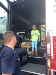 Since I'm planning on being a firefighter Mom when I grow up I was particularly happy to host the Willowfork Fire Department today. They taught us about fire safety and let us hang out in their truck.