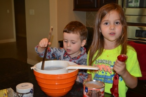 We picked a pudding recipe, except we don't have flour, sugar or refresh powder.