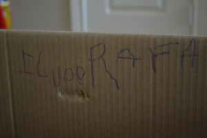 In fact Mum loves my graffiti so much we get to keep the box another week.