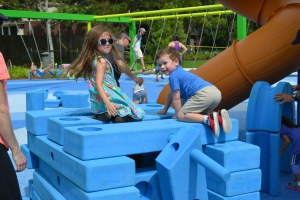 We helped make several forts out of the big blue bricks.