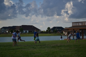 We hung out on the lake lookout. Played tag and soccer.