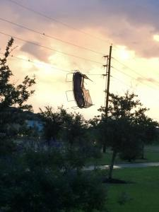 A neighbours trampoline did get tangled in the powerlines.