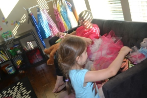 Making matching tutus for Lucy and me.