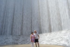 Checking out the water wall at the Galleria (and the Galleria Mall, of course)