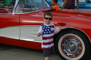 Our neighbourhood Stars and Stripes warm up to the big day tomorrow was combined with a car show.