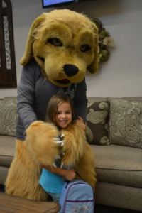 The mascot gave me a big hug when I walked in the door.